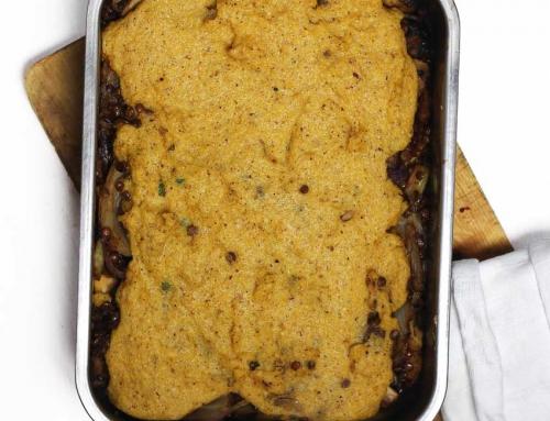 Shepherdless Pie – mit Berglinsen, karamellisiertem Fenchel & Haselnuss-Polenta